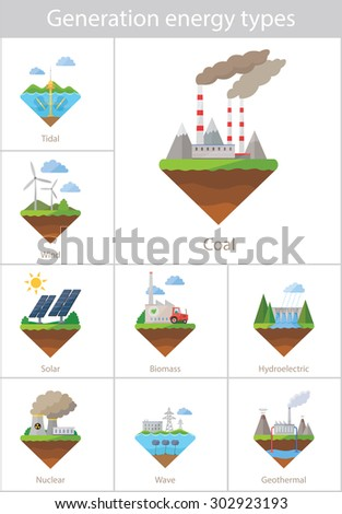 Power plant icon set - stock photo