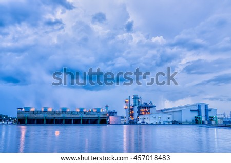 Power plant in cloudy before rainy - stock photo