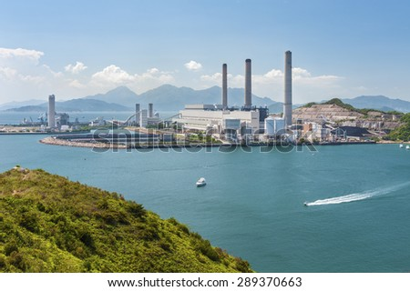 Power plant in Hong Kong - stock photo