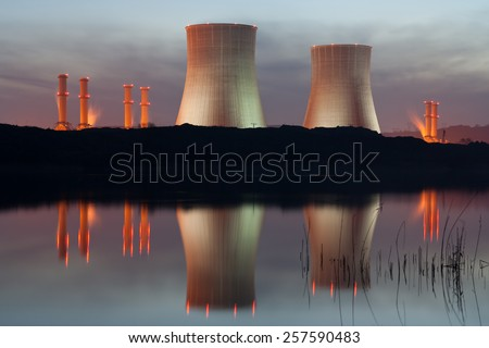 Power plant on the coast. Ecology disaster concept. - stock photo