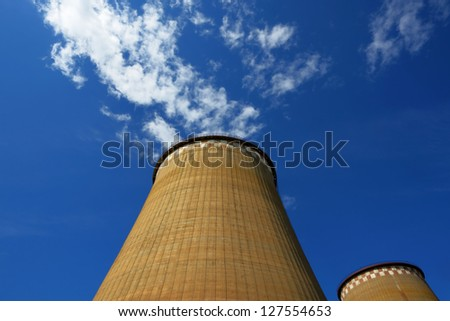 Power plant pipes - stock photo