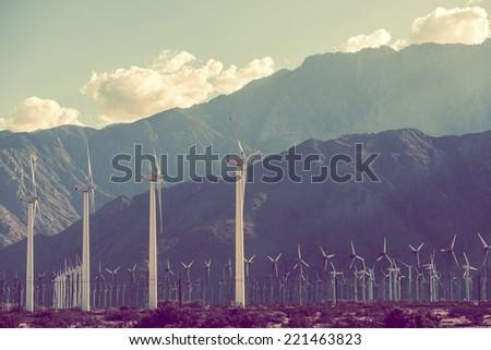 Power Plant Scenery. Wind Turbines in Coachella Valley, California, USA. - stock photo