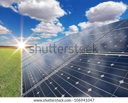 Power plant using renewable solar energy - stock photo