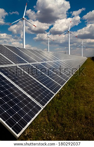 Power plant using renewable solar energy. As background four wind  - stock photo