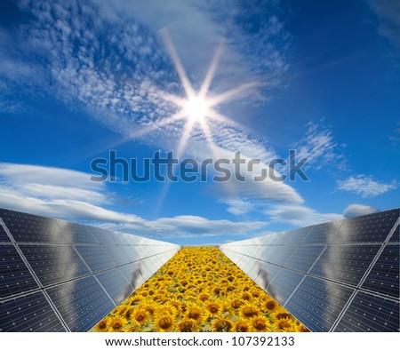 Power plant using renewable solar energy - concept - stock photo