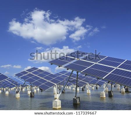 Power plant using renewable solar energy with - stock photo