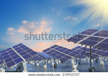 Power plant using renewable solar energy with - stock photo