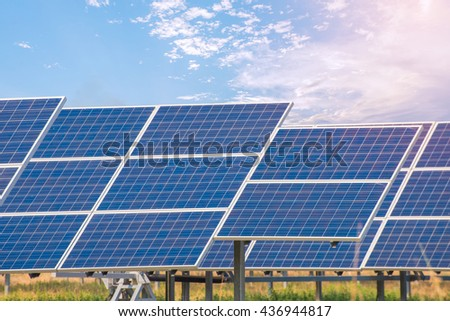 Power plant using renewable solar energy with blue sky. - stock photo