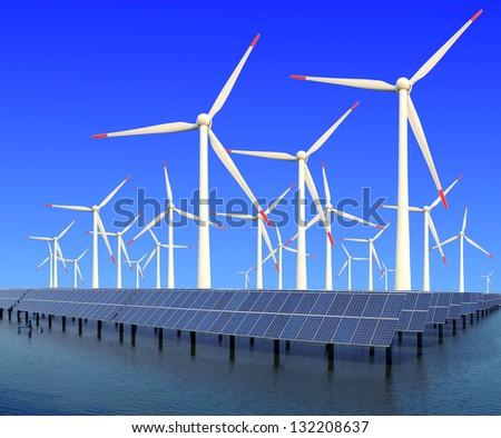 Power plant using renewable solar energy with sun  and wind turbine - stock photo