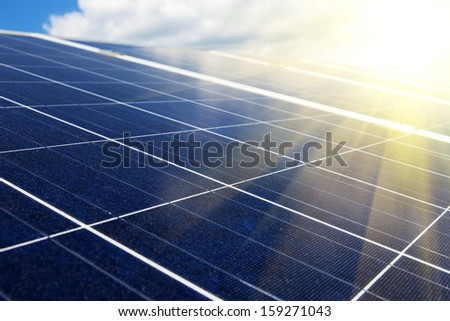 Power plant using renewable solar energywith sun - stock photo