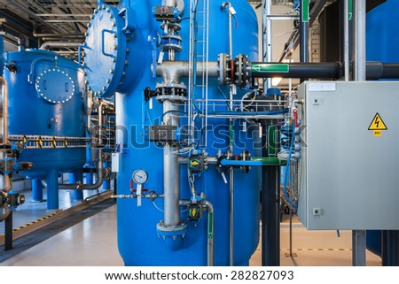 Power plant water filters - stock photo