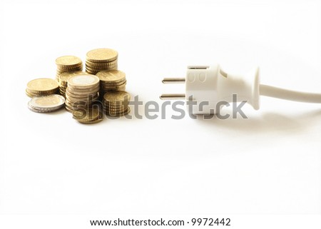 power plug and money concept energy costs - stock photo