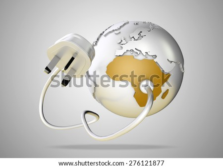 Power plug connects to world globe. Concept for the electricity and power demands of the world. - stock photo
