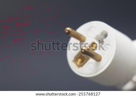 Power plug in black background - stock photo