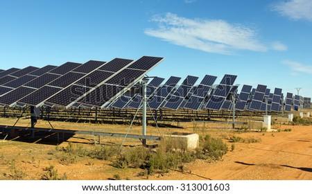 Power polar panel system. Energy production at Spain - stock photo