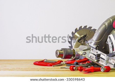 Power saw and other hand tools - stock photo
