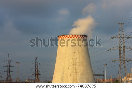 Power station and power lines. - stock photo