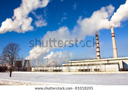 Power station in a winter season (it is located in a city of Grodno, Belarus) - stock photo