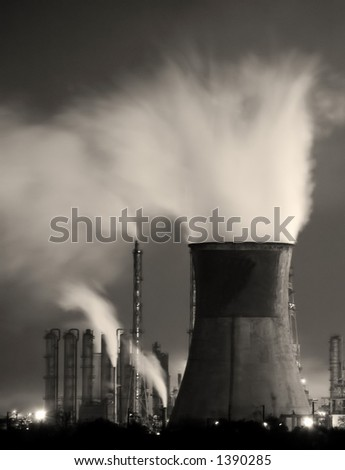 Power station in night - stock photo