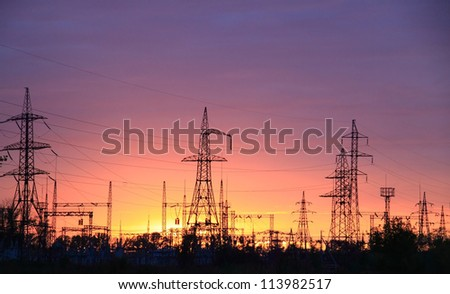 Power station on a sunset background - stock photo