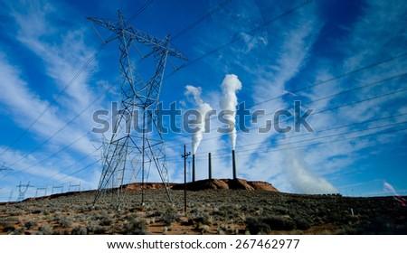 Power Station with Smoke Polution - stock photo