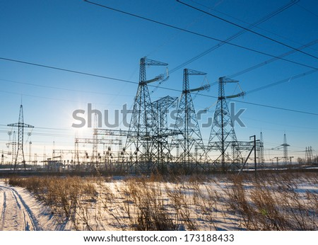 power substation against the background of the sunny sky - stock photo