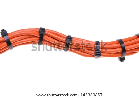 Power supply cable with cable ties - stock photo