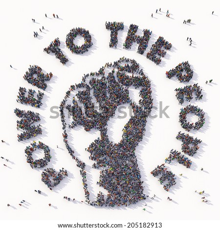 Power to the People text and symbol drawn out of people - stock photo