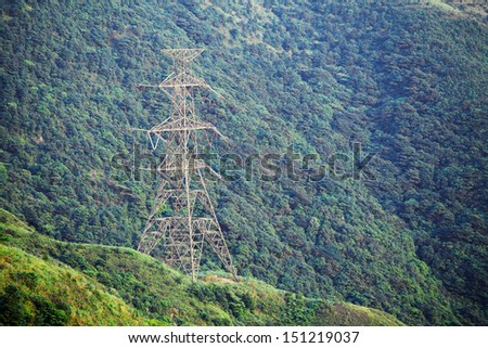 Power Tower on mountain  - stock photo