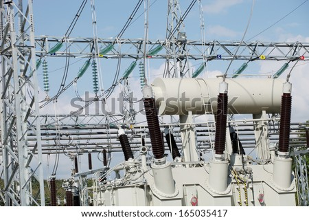 Power Transformer bushing. - stock photo