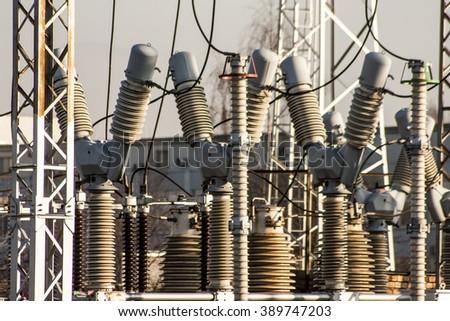 Power transformers  - stock photo