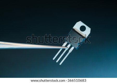 power transistors on a blue background - stock photo