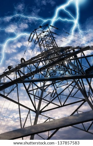 Power Transmission Line - stock photo