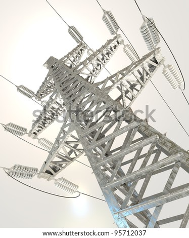Power Transmission Line. 3d render - stock photo