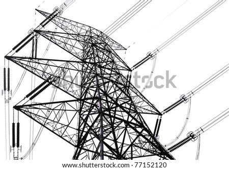 power transmission tower on sky - stock photo