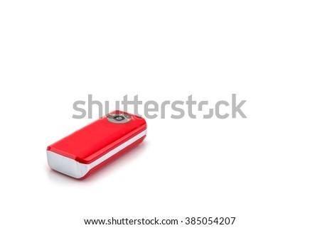 Powerbank energy red on white background - stock photo