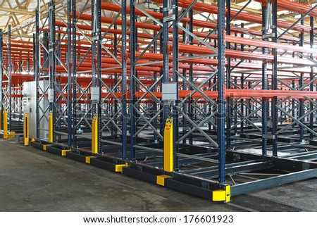 Powered mobile shelving system in archive storage - stock photo