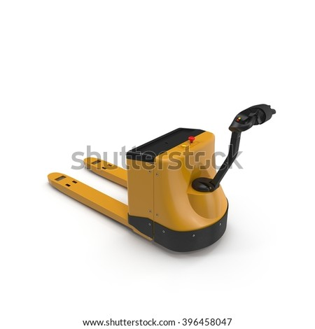 Powered Pallet Jack Yellow isolated on white - stock photo