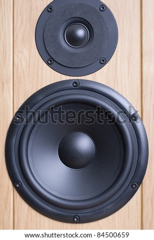 powerful acoustic system. loudspeaker close up. front side of loudspeaker system - stock photo