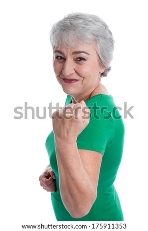 Powerful and health grey haired woman isolated on white. - stock photo
