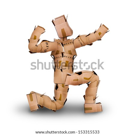 Powerful box man posing while kneeling on a white background - stock photo