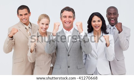 Powerful business people standing against white background - stock photo