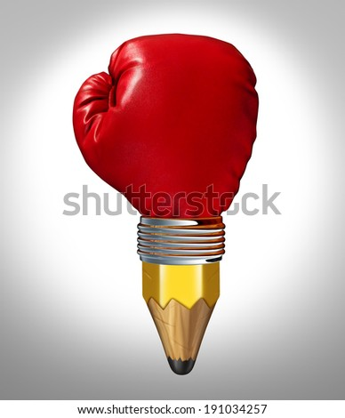 Powerful design concept and creative power symbol as a pencil shaped as a red boxing glove in a business and education metaphor for aggressive revolutionary innovative thinking. - stock photo