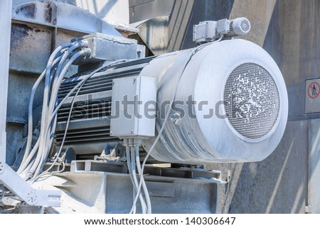 powerful electric motors for modern industrial equipment in lime industry - stock photo