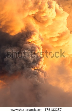 POWERFUL EXPLOSION OF TUNGURAHUA VOLCANO ON 1ST OF FEBRUARY 2014, ECUADOR, SOUTH AMERICA  - stock photo