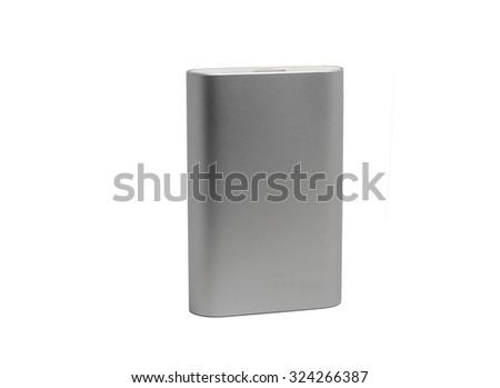 powerful external battery in aluminum case - stock photo