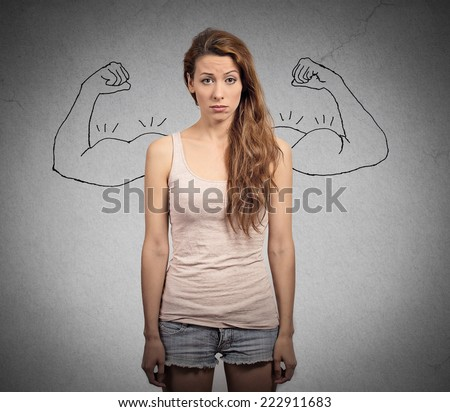 powerful girl reality vs ambition wishful thinking concept. Human face expressions, emotions - stock photo