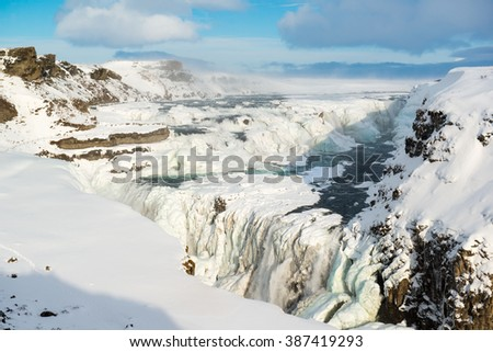 Powerful Gullfoss or Golden waterfall in winter, Iceland - stock photo