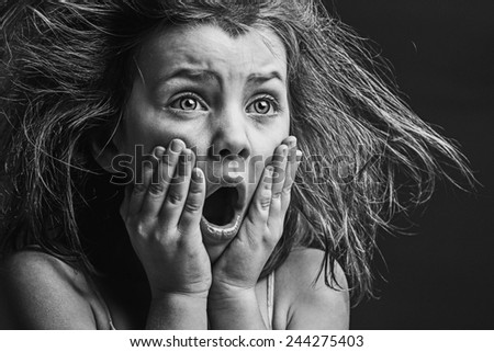 Powerful Image of Scared Child - stock photo