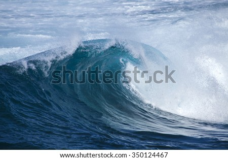 powerful ocean waves breaking by the shores of Gran Canaria - stock photo